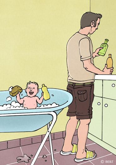 Baby in bad doen