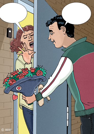 Theo, ik heb het uitgemaakt, ik wil geen bloemen meer van je!