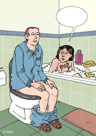 Hé, ik zit in bad! Wegwezen, ga maar naar het toilet beneden!